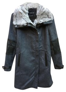 Andrew Marc Real Rabbit Fur Reversible Vest Down Fur Trimmed Hood Pea Coat