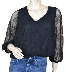 Alice + Olivia Pullover Sexy Lace Cut Out Top Black