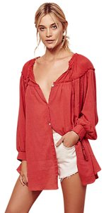 Free People Retro Vintage Festival Button Down Shirt Rouge