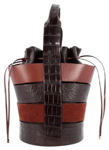Salvatore Ferragamo Crocodile Ostrich Satchel in Brown