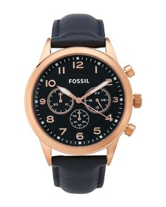 Fossil Fossil BQ2129 Chronograph Rose Gold Navy Blue Leather Band Watch