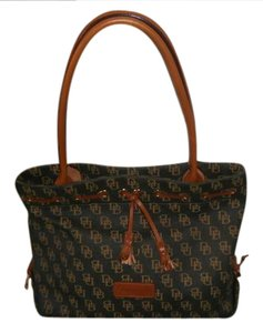 Dooney & Bourke Tote in Grey with tan leather and letters