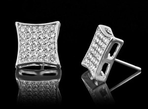 Silver & Clear 13mm Platinum Plated Square Crystal Cz Stud Earrings