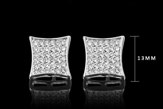 Silver & Clear 13mm Platinum Plated Square Crystal Cz Stud Earrings Image 1