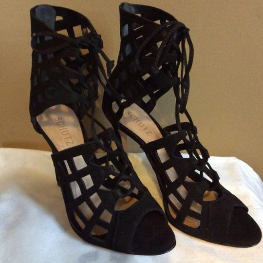 SCHUTZ Blake Lace Up Caged Leather Black Sandals Image 2