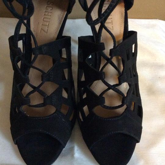 SCHUTZ Blake Lace Up Caged Leather Black Sandals Image 7