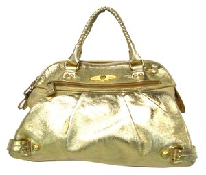 Elliott Lucca Leather Metallic Satchel in Gold