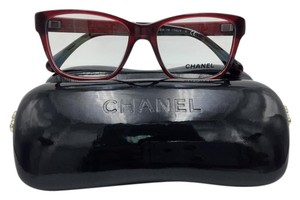 Chanel Stunning Square Red Leather Chanel Eyeglasses 3310-Q c.539 52