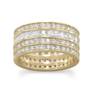 NEW ARRIVAL NEW 14 Karat Gold Plated 4 Row CZ Band