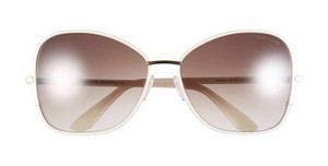 Tom Ford New Solange Butterfly Sunglasses, Ivory, Gold Metal, FT0319