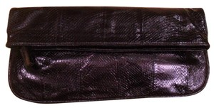 Beirn Snake-embossed Leather Navy Blue Clutch
