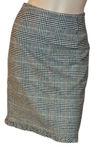 Trina Turk Lined Wool Pencil Straight Skirt Blk/white