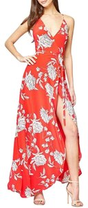Red Maxi Dress by Yumi Kim Flowy Floral V-neck