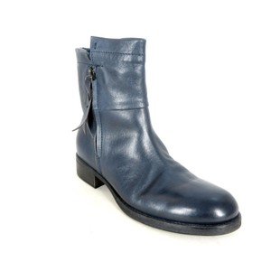 Alberto Fermani Leather Moto Ankle Blue Boots