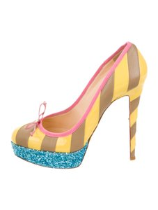 Christian Louboutin Red Bottom Blue Glitter yellow Pumps