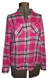 Aéropostale Medium Button Down Shirt Pink with mixed colors of purple, white and blue
