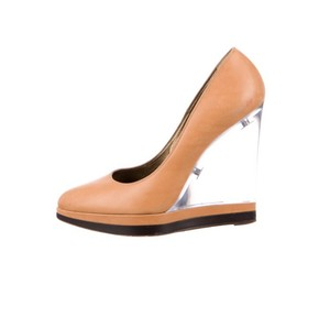 Lanvin Camel/ Black Wedges