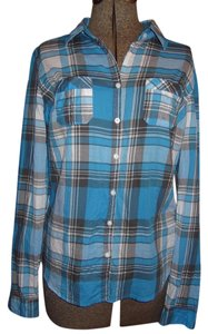 Aéropostale Size Large Button Down Shirt Blue plaid