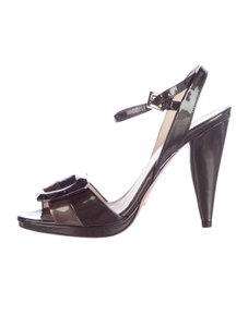 Prada Ankle Strap Buckle Patent Leather Gold Logo Black Pumps