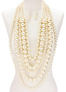 Other Multilayer Fashion Statement Layers of Pearl Necklace and Earrings