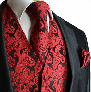 Brand Q Men's Paisley Pattern Design Tuxedo Waistcoast Vest + Necktie + Handkerchief Set Red / Black