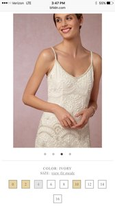 BHLDN White Sequined and Beaded Naomi Gown Feminine Wedding Dress Size 10 (M)