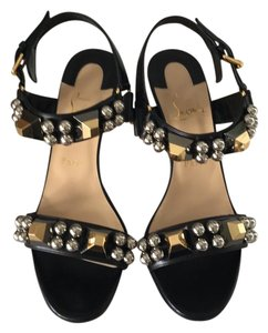 Christian Louboutin Black gold silver Sandals