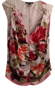 Roberto Cavalli Top white base, colorful flower print