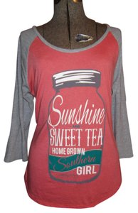 Red Camel Jersey Southern T Shirt Peach and Gray