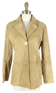 St. John Suede Embroidered Versatile Tan Leather Jacket