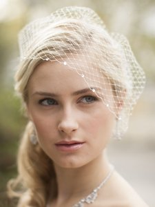Mariell Bold Crystal Ivory Lace Applique Wedding Veil With French Net Birdcage