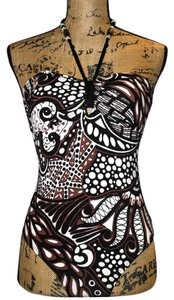 Anne Cole Anne Cole Boho & Animal Mixed Print Beaded Halter-Style Swimsuit