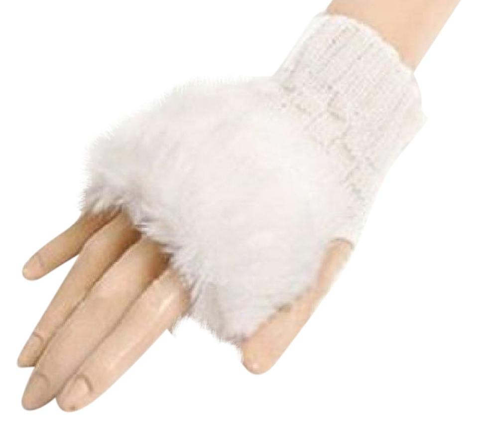 White 2 For 1 Price Knit Faux Fur Fingerless Gloves Free Shipping ...