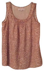 Ann Taylor LOFT Top Melon, brown and ivory
