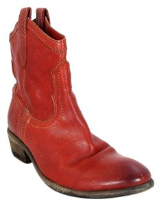 Frye Leather Ankle Western Red Boots