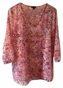 Ann Taylor Floral Sheer Spring Top Pink