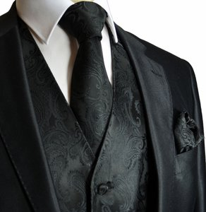 Brand Q Men's Paisley Pattern Design Tuxedo Waistcoast Vest + Necktie + Handkerchief Set Black