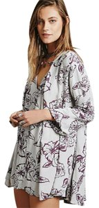 Free People short dress Off white/Lavender Floral Spring Fashion Bohemian Loose on Tradesy