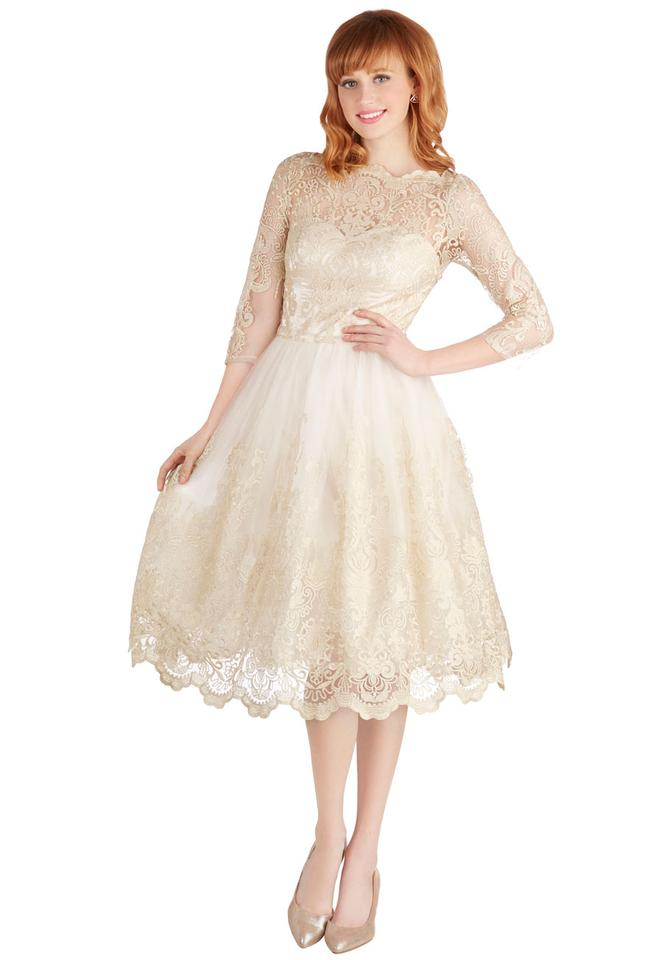 Modcloth Champagne Gilded Grace Retro Wedding Dress Size 8 M