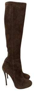Dsquared2 Knee High Stretch Suede Fitted Brown Boots