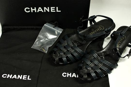 Chanel Low Heel Leather Navy Blue Sandals Image 1