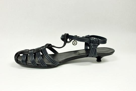 Chanel Low Heel Leather Navy Blue Sandals Image 4