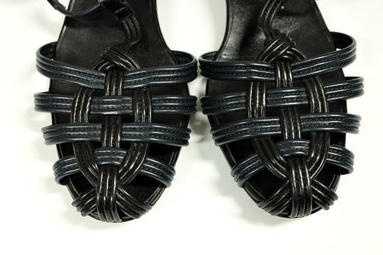 Chanel Low Heel Leather Navy Blue Sandals Image 8