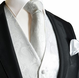Brand Q Men's Paisley Pattern Design Tuxedo Waistcoast Vest + Necktie + Handkerchief Set White