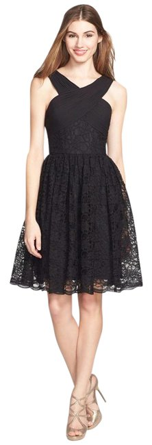 Preload https://img-static.tradesy.com/item/20547967/monique-lhuillier-black-cross-neck-lace-fit-and-flare-short-cocktail-dress-size-14-l-0-1-650-650.jpg