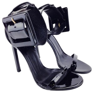 Gucci Heels Stiletto Patent Leather Buckle Black Sandals