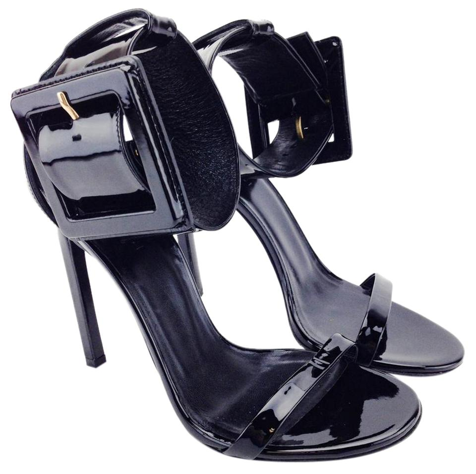 5461adf537f Gucci Heels Stiletto Patent Leather Buckle Black Sandals Image 0 ...
