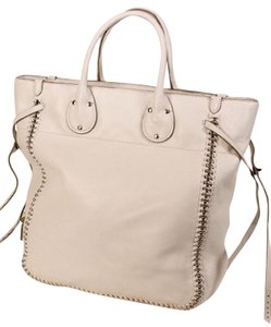 Coach Tall Tatum Lacing Whiplash White Leather Tote in Chalk White