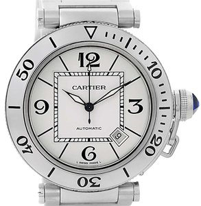 Cartier Cartier Pasha Seatimer Steel Silver Dial Mens Watch W31080M7 Box Paper