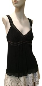 David Meister Silk Stitching David Top black